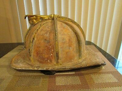 Cairns N5A New Yorker Leather Fire Helmet Fireman's Helmet 1991 Vintage Large