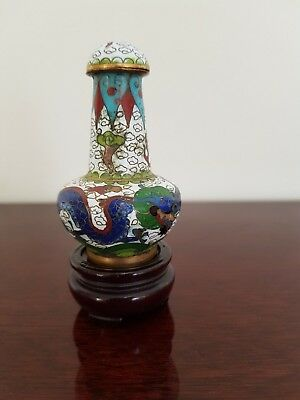 Exquisite Miniature Lidded Cloisonne Dragon Vase From Beijing China