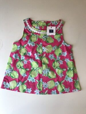 Janie and Jack Girls Floral Fruit Shift Pink Green Dress Size 6 BNWT New