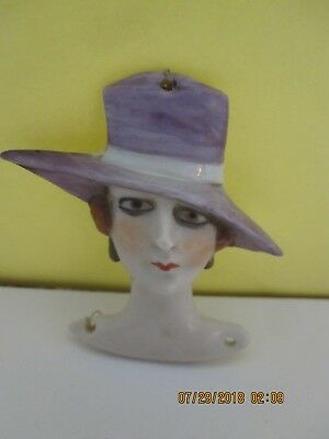 ART DECO 1920's STYLE  PORCELAIN FLAPPER FLAT FACE/HEAD FOR POWDER PUFF