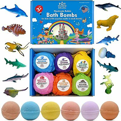 6 Bath Bombs Gift Set for Kids and Teens with SPONGEBOB Toys inside USA Made
