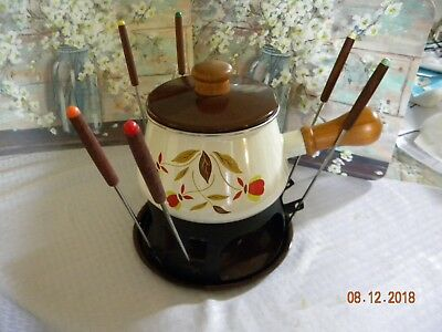 """RARE""  Hall Autumn Leaf Jewel T 2 Quart Fondue Pot w Lid , Base, Forks & Burner"