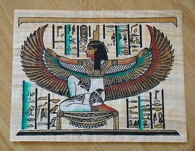 Winged Isis Egyptian Papyrus Painting 11x14 hand painted goddess Egypt