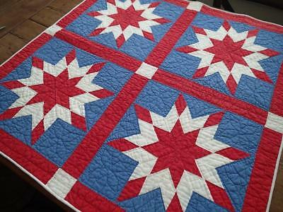 STAR SPANGLED! Vintage Patriotic Americana Red White & Blue Table Crib QUILT 35""