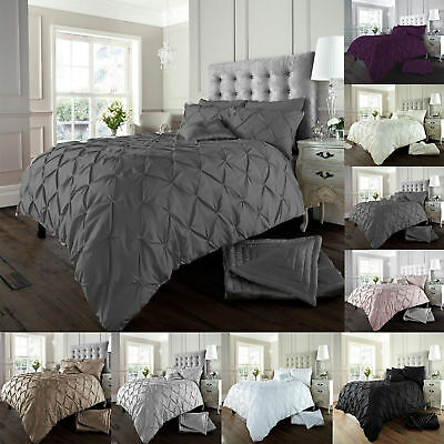 Luxury Diamond Alford  / Pintuck Duvet Cover Set With Pillow Case,Bedding Sets