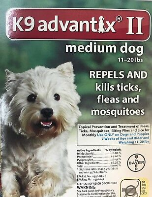 Bayer K9 Advantix II 1 month supply For Dogs 11-20 lbs, Genuine FREE SHIPPING !!