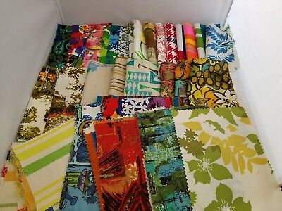 Vintage Polished Cotton & Barkcloth-Style Fabric Small Samples LOT Groovy Prints
