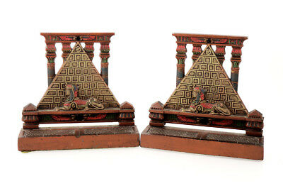 Painted cast iron pair of bookends, pyramid and sphinx, 1920s [11658]