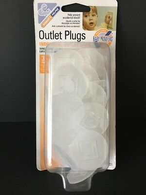 Mommy's Helper Outlet Plugs 36 Count Individual Outlet Caps Prevents Shock White