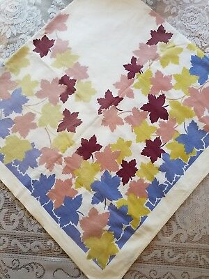 Vtg Wilendur Hand Printed Tablecloth~Fall Leaves~Beautiful