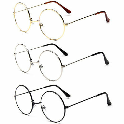 Women Men Large Oversize Metal Frame Clear Lens Round Circle Eye Glasses Vintage