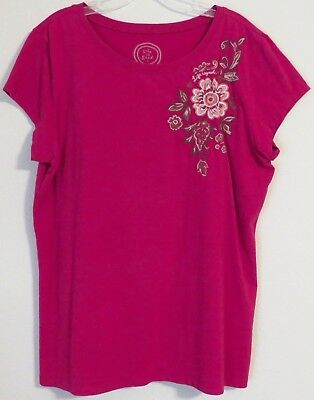 Life Is Good Cascading Flowers Raspberry Fitted Tee Xl Xl Extra Large