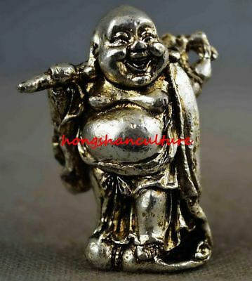 Collection Handwork Old Miao Silver Carve Smile Buddha Wealthy Statues