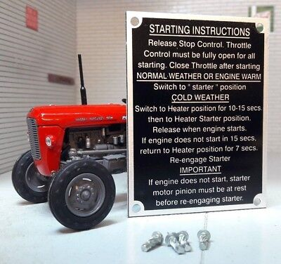 Massey Ferguson MF65 65 Tracteur Démarrage Instructions Assiette & Rivets