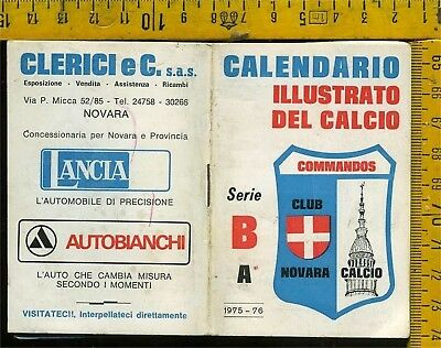Calendario Tascabile Illustrato del Calcio 1975 76 Novara