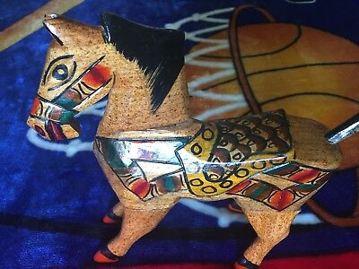 Big Vintage Hand Painted Wood Carved  Horse Movable Head Feet Tail
