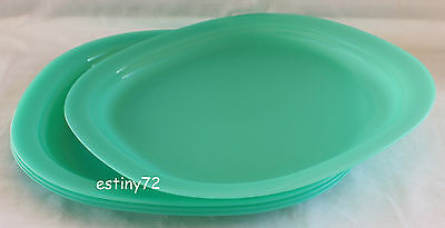 Tupperware Alfresco Large Microwave Safe Luncheon Plates (4) Sea Green New