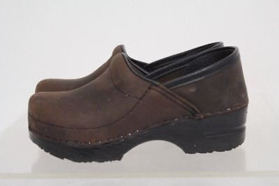Dansko Dark Brown Black Trim Clog Shoes Girls Size 28/29