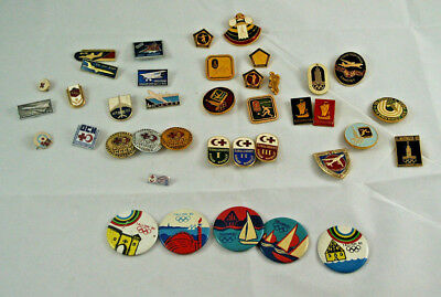 Lot of 39 Soviet Union USSR Pins  Badges; 1980 Olympic Games; Blood Donor; Plane