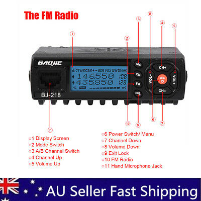 Mini Car Mobile FM Radio VHF/ UHF Dual Band Transceiver Walkie Talkie BJ-218 AU