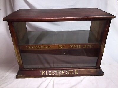 Antique Wood Glass Counter Store Display Case Kloster Silk Drawer