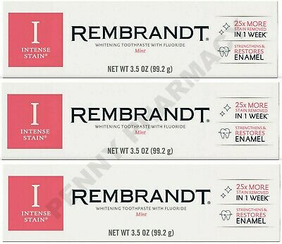 Rembrandt Toothpaste INTENSE STAIN Mint 3.5 oz ( 3 tubes )