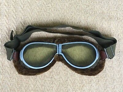 Ww1 Pilot Aviation Goggles  Resistal S&b N.y. Brand Including The Carrying Case