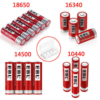 Lot EBL 3.7V 18650 16340 14500 10440 26650 Rechargeable Battery + Box For Torch