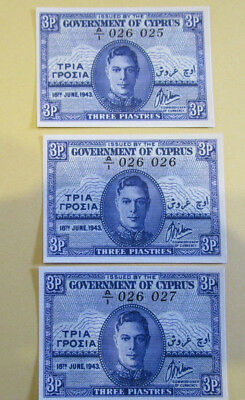 Cyprus 3 Piastres banknote 1943, UNC MINT CONDITION scarce.CONSECUTIVE NUMBERS 3