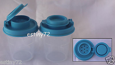 Tupperware Midgets Salt N Pepper Spice Shakers Set (2) Clear & Azure Blue New
