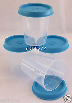 Tupperware Minis / Midgets Set (4) Clear & Azure Blue Seals New