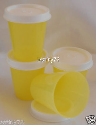 Tupperware Minis / Midgets Set (4) Lemonade Yellow & Snow White Seals New