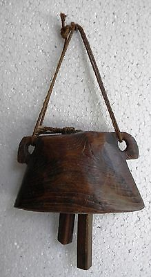 Old Vintage Hand Crafted Wooden Cow Bell Original Collectible Art