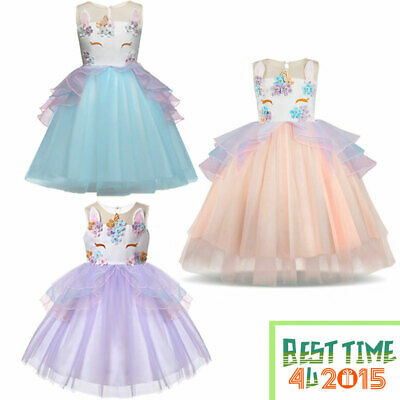 Kids Baby Flower Girls Party Unicorn Dress Wedding Bridesmaid Tutu Tulle Dresses