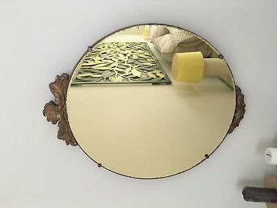 Round  Mirror - Antique  gold tint with carving details