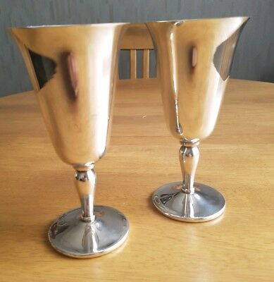 Pair of Beautiful. Silver Plated. Wine Glasses. Made in England.
