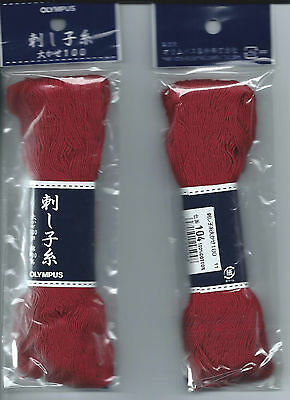 """ SASHIKO ""   Olympus Embroidery Thread 100% Cotton 100m RED"