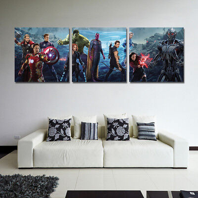 Captain America Character 3 Panel Canvas Wall Art Modular Decorative  Brand New