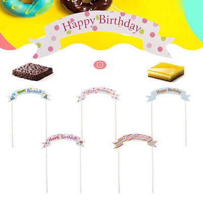 5/10 Pcs Birthday Cake Flags Topper Party Paper Hanging Bunting Wedding Banners