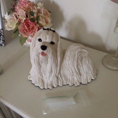 Maltese Dog Figurine Ornament Pet Cremation Memorial Urn
