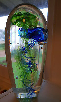 Blue/Green Double Jellyfish Handmade Glass Paperweight