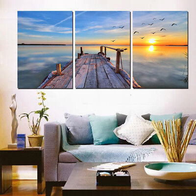 Morning Sunrise Seascape 3 Panel Canvas Wall Art Modular Decorative  Brand New