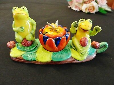 Vintage Salt, Pepper & Mustard Condiment Set Frog Design