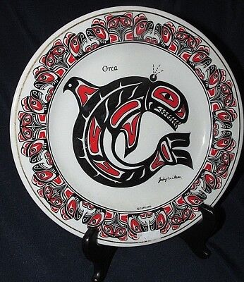 Whale Orca Wall Plate by Jody Wilson First Nations Canada Legend AS New 19.5CmW
