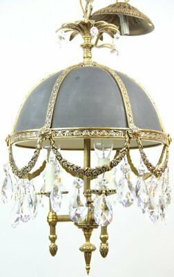 "Antique Three Light Brass Black & Crystals Hanging Fixture Chandelier 19"" x 11"""