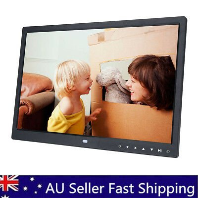15 Inch Clock MP4 Movie Player Digital Photo Frame album Touch Button Black 12V