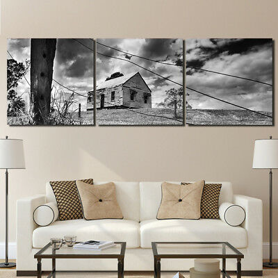 Abandoned House Landscape 3 Panel Canvas Wall Art Modular Decorative  Brand New