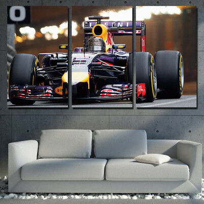 Formula One Car  3 Panel Canvas Wall Art Modular Decorative  Brand New