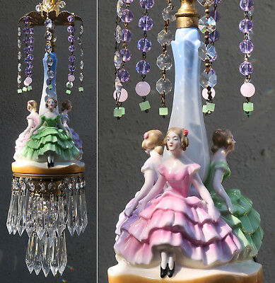 SWAG lamp vintage Porcelain Brass lady dress crystal prism chandelier wedding de