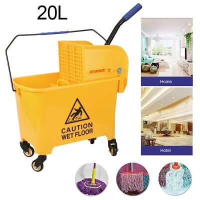 Rolling Mini Side Press Mop Bucket with Wringer 21qt / 5.2 Gallons/20L Yellow OY